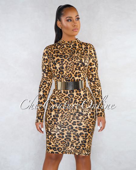 Emmie Leopard Print Mock Neck Long Sleeves Dress