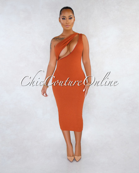Adrienne Rust Cut-Out Single Shoulder Ribbed Dress