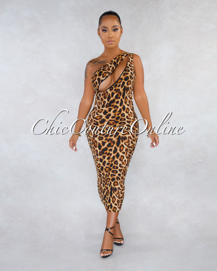 Adrienne Leopard Print Cut-Out Single Shoulder Ribbed Dress