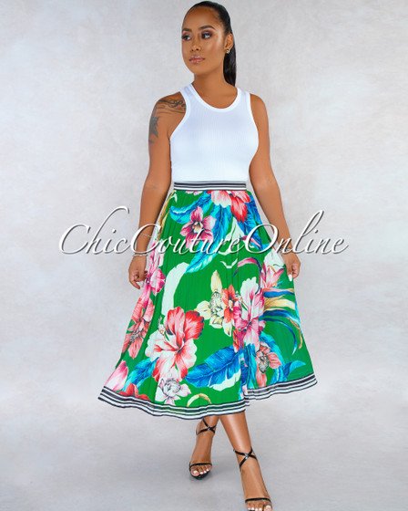 Danita Green Floral Print Pleated Midi Skirt