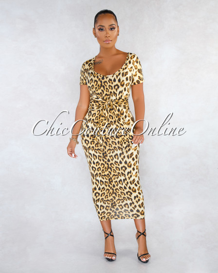 Lisandra Leopard Print Self-Tie Belt Midi Dress