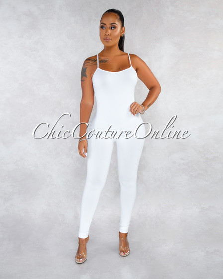 Dynamic White Seamless Body-Con Jumpsuit