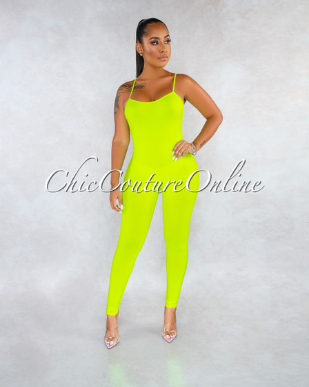Dynamic Neon Lemon Seamless Body-Con Jumpsuit