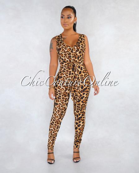 Zilya Leopard Print Front Tie Jumpsuit