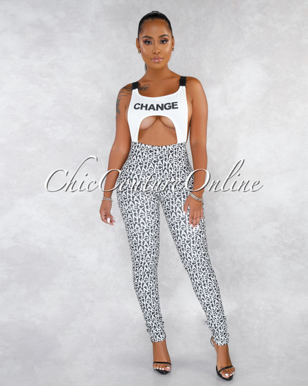 Change Black White Cut-Out Buckles Graphic Legs Jumpsuit