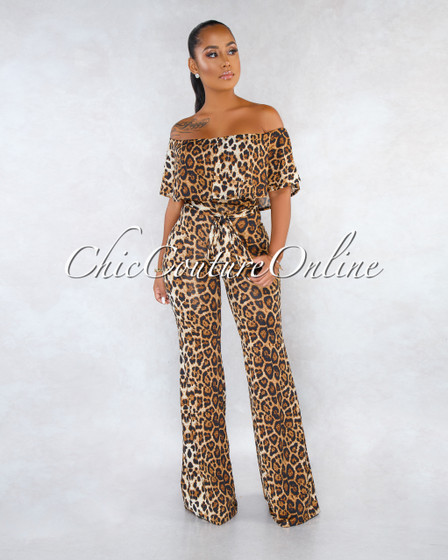 Mugler Leopard Print Off-The Shoulder Ruffle Jumpsuit