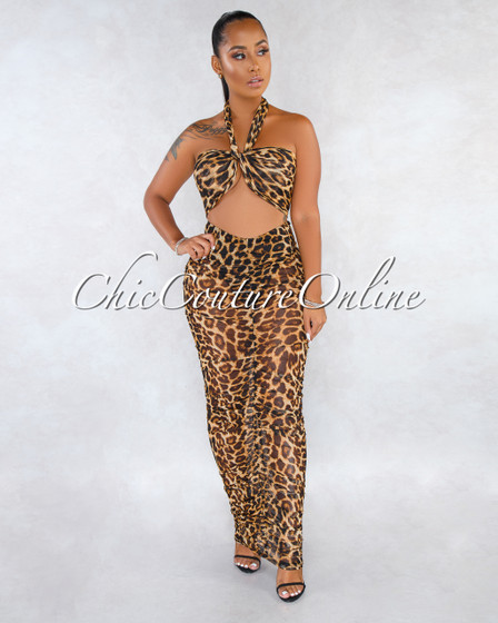 Honeymoon Mesh Leopard Print Ruched Two Piece Set