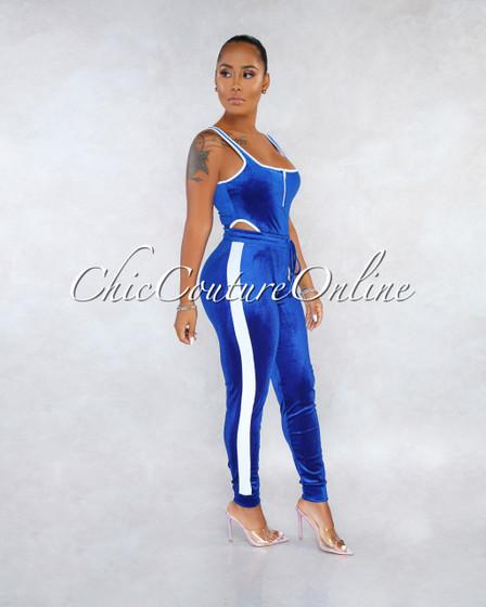 Azria Royal Blue White Velvet Bodysuit Pants Set