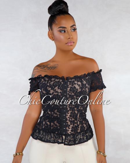 Lorenza Black Lace Ruffle Crochet Style Top