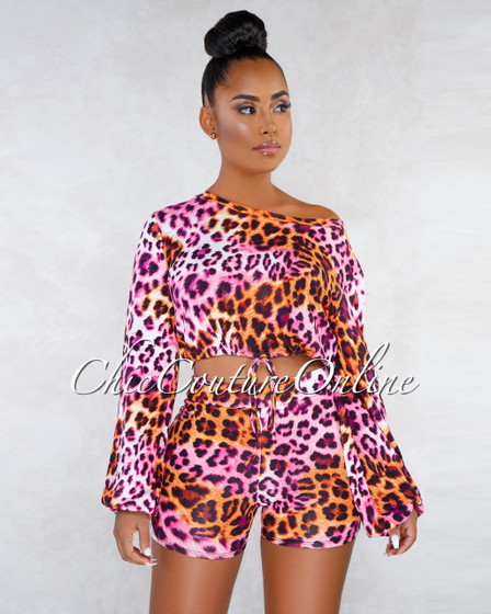 Vestali Pink Orange Leopard Print Drawstring Sweater Set