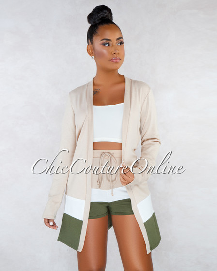 Adelphie Nude Olive White Duster Shorts Two Piece Set