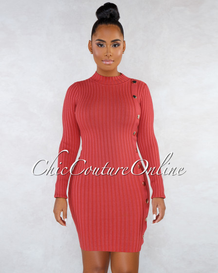 Valerian Cayenne Gold Snap Buttons Ribbed Dress