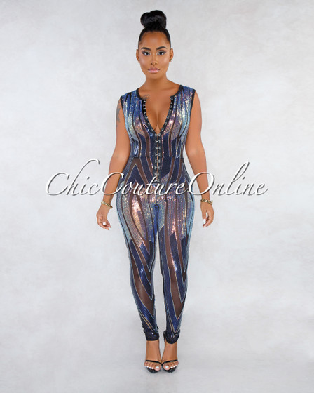 Yvette Black Multi-Color Front Sequins Mesh Jumpsuit