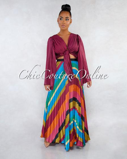 Taisce Purple Multi-Color Pleated Skirt Two Piece Set