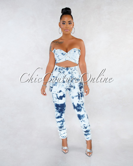 Raisa Tie-Dye White Blue Denim Cargo Two Piece Set