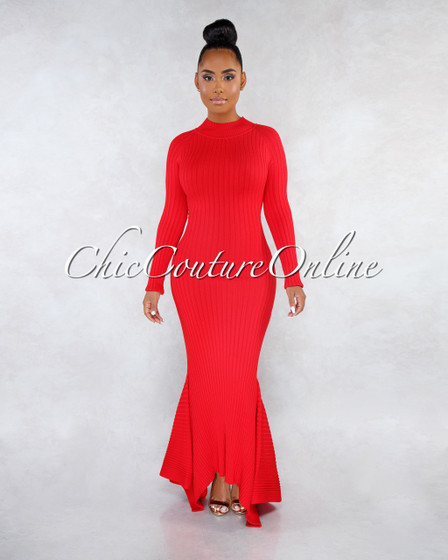 Crystal Red Ribbed Mermaid Hem Maxi Dress
