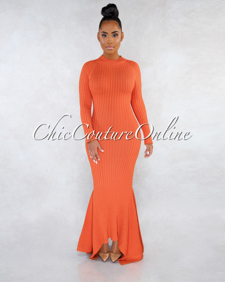Crystal Burnt Orange Ribbed Mermaid Hem Maxi Dress