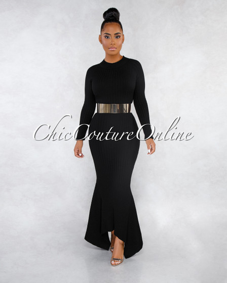 Crystal Black Ribbed Mermaid Hem Maxi Dress