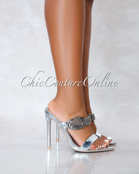 Robbin Watch Silver Pointed Toe Heels