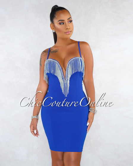 Tessla Royal Blue Rhinestones Fringe Top Mini Dress
