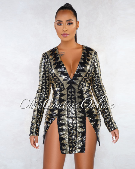Coco Black Gold Sequins V-Neck Front Slits Mini Dress