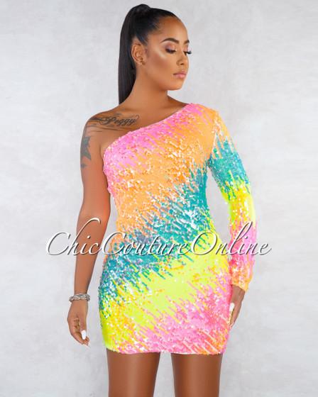 Delphine Multi-Neon Color Sequins Single Sleeve Dress