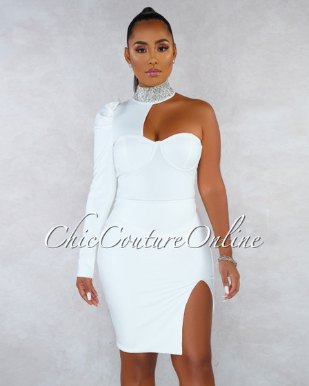 Reese Off-White Rhinestones Neck Single Sleeve Dress