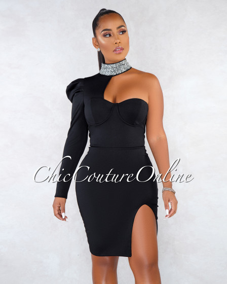 Reese Black Rhinestones Neck Single Sleeve Dress
