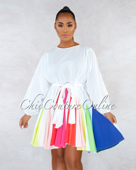 Serra White Multi-Color Pleated Bottom Skater Dress