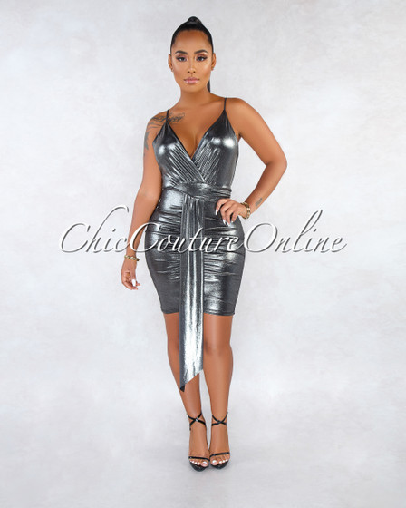 Horton Silver Draped Low Back Shimmer Dress