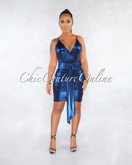 Horton Blue Draped Low Back Shimmer Dress