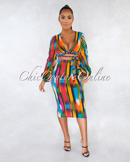 Carmina Turquoise Multi-Color Pencil Skirt Two Piece Set
