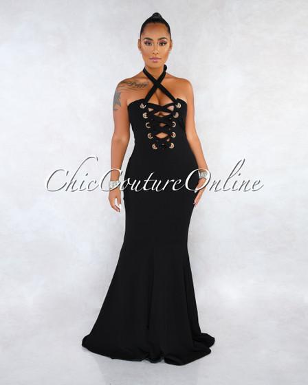 Amalia Black Two-Way Lace-Up Gold Accent Maxi Dress