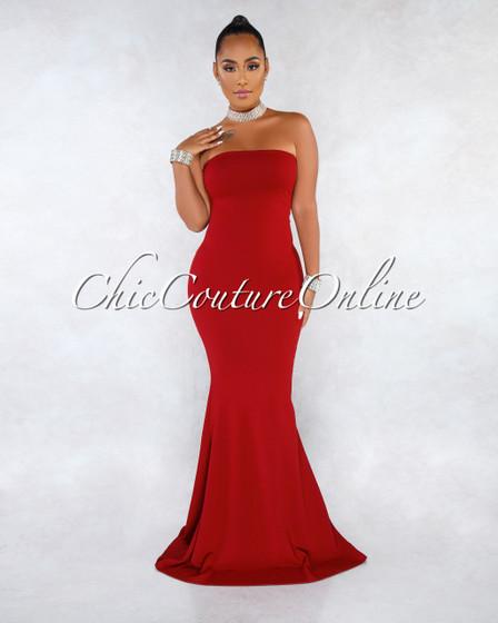 Amalia Burgundy Two-Way Lace-Up Gold Accent Maxi Dress