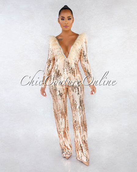 Edolie Nude Rose Gold Sequins Feather Embellished Jumpsuit