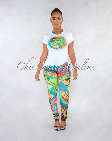 Edsel Black Multi-Color Print Leggings