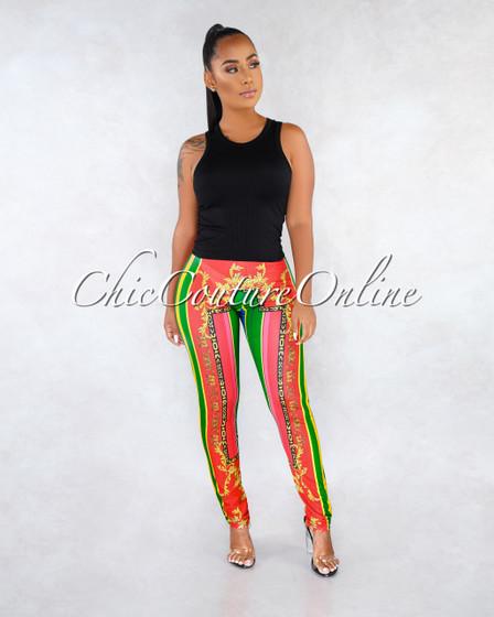 Kamani Red Green Multi-Color Print Leggings