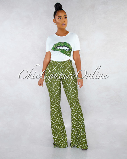 Bruna Off-White T-Shirt Green Print Pants Two Piece Set