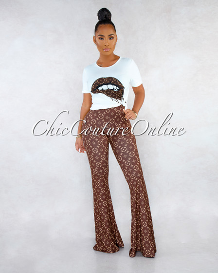 Bruna Off-White T-Shirt Brown Print Pants Two Piece Set