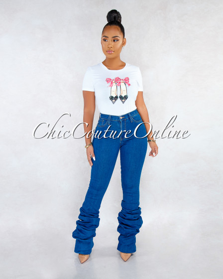 Lullie Blue Denim High Waist Ruched Bottom Jeans
