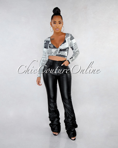 Bency Black Faux Leather Ruched Bottom CURVACEOUS Pants