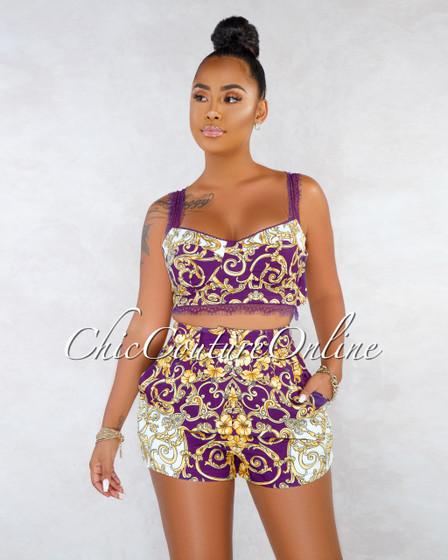Oneda Purple Gold Print Lace Short Two Piece Set