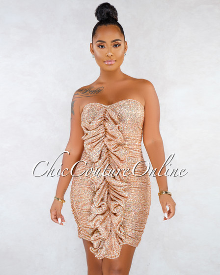 Forward Rose Gold Sequins Front Ruffle Accent Dress