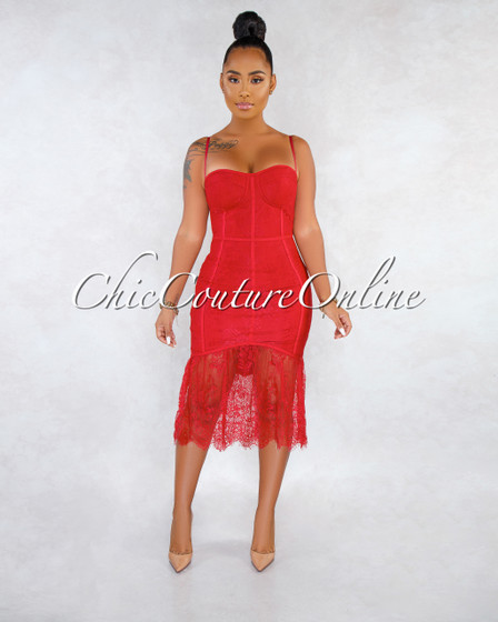 Mindy Carmine Red Lace Overlay Midi Bandage Dress