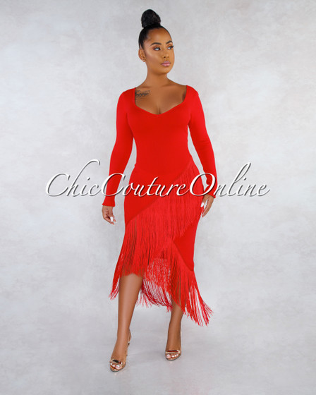 Niska Red Asymmetrical Fringe Hem Midi Dress