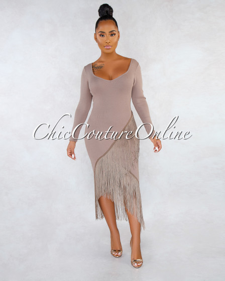 Niska Mushroom Asymmetrical Fringe Hem Midi Dress
