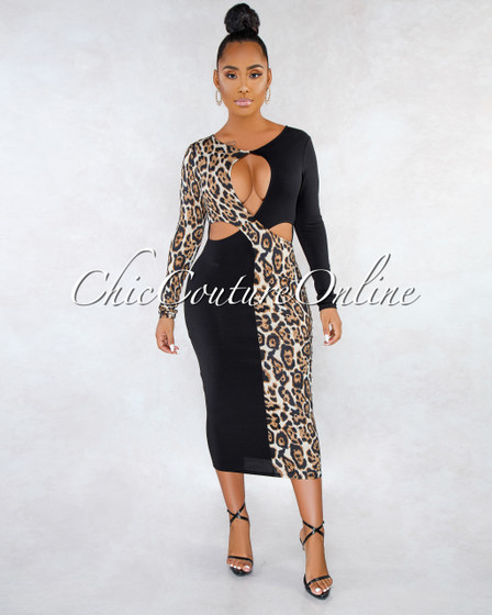 Billie Black Leopard Print Two-Tones Triple Cut-Out Dress