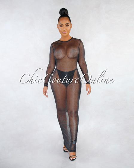 Carlene Black Mesh Open Back Lingerie Dress