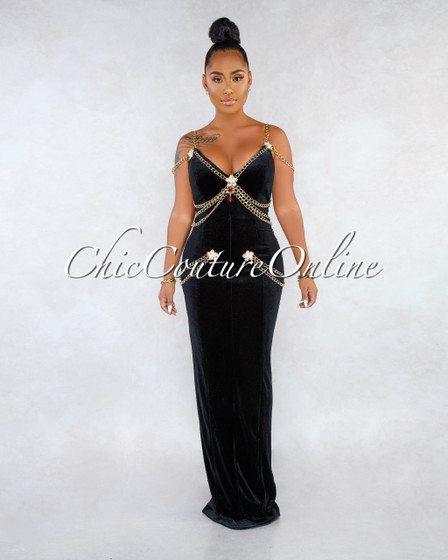 Miya Black Velvet Gold Chain Rhinestones Applique Maxi Dress