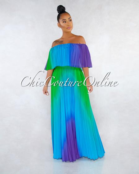 Sya Purple Green Ombré Pleated Off-The Shoulder Maxi Dress